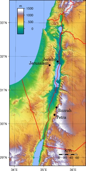 Israel and West Jordan topography